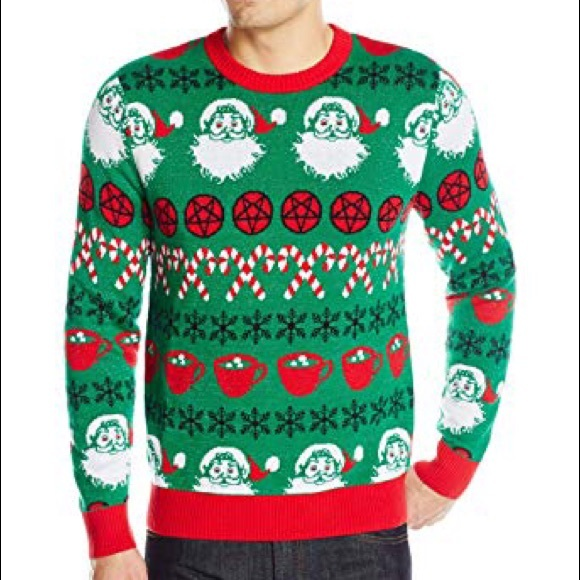 Satanic Christmas Sweater.Alex Stevens Ugly Christmas Sweater Satanic Santa